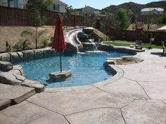 Rock Pools - A Cut Above - Based in Menifee, Calif., A Cut Above Construction, Pools & Landscape Inc. is a turnkey Southern California swimming pool and landscape contractor. Swimming Pool Designs, Swimming Pools, Epic Pools, Awesome Pools, Hot Tub Backyard, Outdoor Fun, Outdoor Decor, Building A Pool, Rock Pools