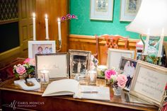 Guest book table. Photos of the final product! My navy blue and blush pink wedding!!!! ( navy, blush, white, ivory, silver wedding colors )