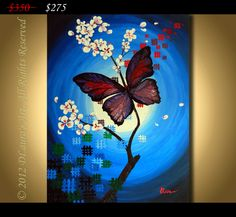 ORIGINAL Large Abstract Contemporary Fine Art Textured Landscape Butterfly Blue Painting on 24x32 Canvas Made With a Palette Knife. $275.00, via Etsy.