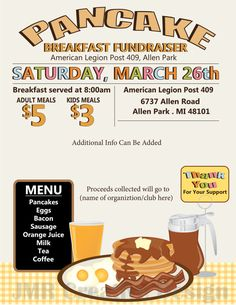 Pancake Breakfast Fundraiser Flyer / All You by JMRCreativeDesign