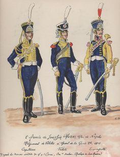 """Capitano, """"Vélite"""" e tromba del reggimento """"Vélites"""" a cavallo della guardia reale del regno di Murat"""