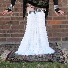 Gypset Gaiters - Flared Ruffled Leggies - Fractured Fairytale Swan - Hooping - Tribal Belly Dance - Dance - Leg Warmers. $104.49, via Etsy.