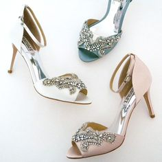 Our favorite new style from Badgley Mischka: Barker. Available in 3 spring colors, this style will complete a glam, vintage or boho chic look. Delicate embroidery with beads, crystals (and white has pearls) brings sparkle & glamour while the ankle strap & D'Orsay style bring a vintage vibe.