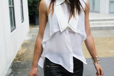 white top with black leather