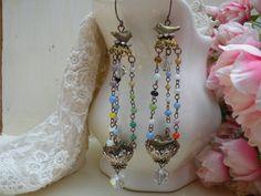 TWITTERPATED shabby wee bird nest chandelier earrings hanging basket shoulder duster ooak one of a kind assemblage