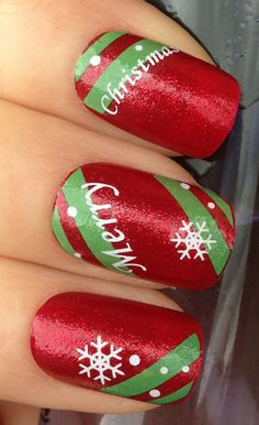 Christmas nails idea - that font like text is basically impossible XD