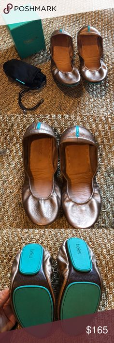 Metallic Bronze Tieks Size 8 These tieks have been worn only a handful of times. Scuffing around the edges; please see all photos. Barely noticeable, as they are on the underside of the shoe and could be easily fixed. Clean footbeds. Comes with box and bag; I have an extra flower I can send if they are purchased at full price. Let me know if you have any questions!  Not interested in trading. Selling for my MIL. Thanks! Tieks Shoes Flats & Loafers
