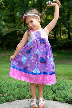 My best-selling original and exclusive dress design - this reverse knot dress features Disney Frozens Anna and Elsa Sisters Forever, ruffle and