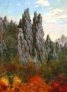 (North Korea) Autumn in Mt Chilbo by Choi Seong-sik (1948-  )