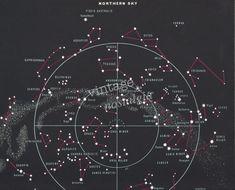 Vintage Northern Skies Astrology Sky Map