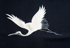 Japanese Black Silk - crane is symbol representing happiness and longevity.