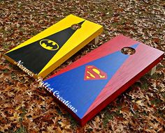 RECYCLED PALLETS: The Superhero Cornholes were also a bit different for us to make since they had so many different color layers on them. (They sold for $170 a set.)ITEM# 1,536