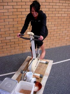 Pedal powered grain mill.  How to adapt/change out gears to 2:1 for more efficient milling