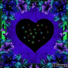 ~ Blue, green  purple heart ~