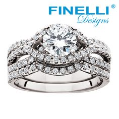 Round diamond engagement ring and wedding ring set with a unique halo design. Engagement ring by Finelli. #engagementrings