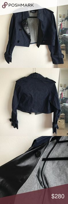 3.1 Phillip Lim denim lamb leather cropped jacket 3.1 Phillip Lim denim lamb leather short jacket Originally $550 Worn once Size 4 Lamb leather (refer to tag)   #denim #jeans #jacket #philliplim #lamb #leather 3.1 Phillip Lim Jackets & Coats Jean Jackets
