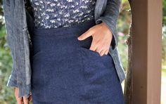 Selene pencil skirt in denim - pocket detail