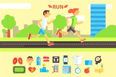 Jogging and Running Set Graphics Jogging and Running Set with People Running Outdoor. Vector IllustrationOriginal elements to creat by TopVectors