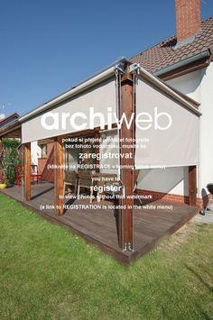 archiweb.cz - Rekonstrukce přízemí rodinného domu Outdoor Blinds, Outdoor Shade, Outdoor Pergola, Backyard Pergola, Outdoor Rooms, Backyard Shade, Patio Shade, Pergola Shade, Modern Pergola