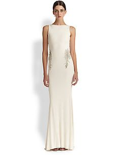Badgley Mischka Beaded Back-Drape Gown in Oyster $990 -   The picture of sophisticated glamour, this fluid matte jersey design is embellished with shimmering embroidery, and finished with a dramatic back drape detail.  Boatneck Sleeveless Beaded embroidery Low V back with pleated, knotted drape detail Attached train