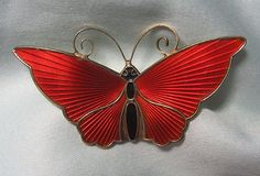 DAVID ANDERSEN Norway GP 925 Sterling Silver Enamel Butterfly Pin 10.5 grams