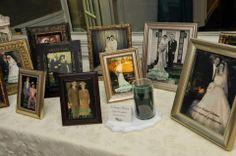 family wedding photo display. cocktail hour ideas. reception ideas. DIY wedding ideas