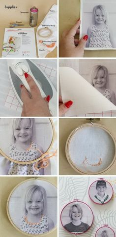 This easy embroidered photo would be a fantastic Christmas gift for grandparents!