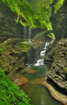 Rainbow Falls in Watkins Glen State Park, New York