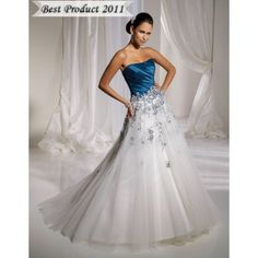 Romantic Floral Embroidery Blue and White Wedding Dresses Long for Girls
