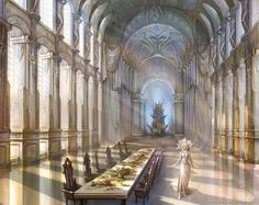 A great hall in one of the palaces Fantasy landscape Fantasy concept art Fantasy castle