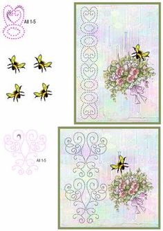 Bumble Bee and Bouquet Card Front on Craftsuprint designed by Diana Hutchinson - A stitching pattern (or piercing) card front in two sizes with a pretty bouquet and bumble bee decoupage. - Now available for download!