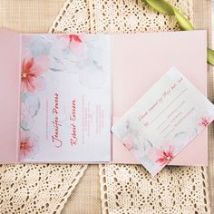 cheap spring peach watercolor flower ribbon pocket wedding invitations EWPI156 as low as $1.69