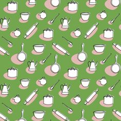 Kitchenalia Green Reverse fabric by knittingand on Spoonflower - custom fabric