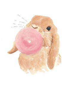 8x10 Rabbit Watercolor PRINT Nursery Art Bubble by WaterInMyPaint