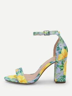 d75cbddc149 Flower Print Single Band Ankle Strap Heels  fashion  clothing  shoes   accessories
