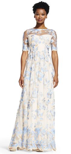 Adrianna Papell   Short Sleeve Floral Embroidered Dress with Sheer Neckline
