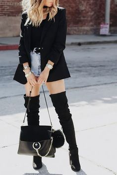 Edgy look | Denim shorts, blazer, black shirt and over the knee boots
