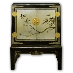 "26"" ShanXi Style Black Lacquer Chest with Stand with 2 Doors Hand Painted on Gold Leaf"