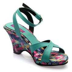 12cfb5ff31f FIORELLA Women Blue Wedges- These  blue  strappy  sandals feature  multi-coloured