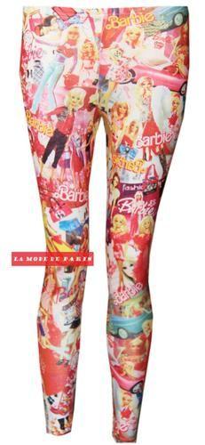 U96 Womens Ladies Barbie Doll Cartoon Graffiti Print Full Ankle Length Leggings | eBay