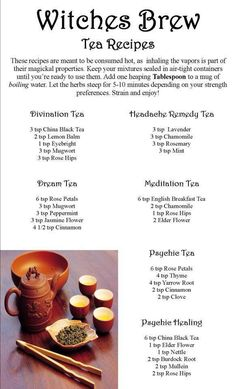 ☆ Witches Brew Tea Recipes ☆ finally a use for my tea sets!!