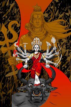 Ugadi - Enlightened New Beginning, A Supreme Union Of Power And Prosperity Durga Painting, Lord Shiva Painting, Durga Maa Paintings, Shiva Hindu, Hindu Art, Kali Shiva, Happy Navratri Images, Durga Ji, Durga Images
