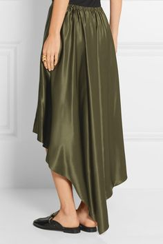 Army-green silk-satin Slips on 100% silk Dry clean Designer color: Military