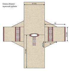 Схема сборки мужской русской рубахи