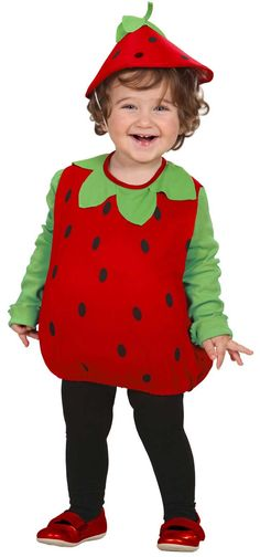 Ella strawberry costume for toddlers Diy Fruit Costume, Fruit Costumes, Costume Garçon, Toddler Costumes, Boy Costumes, Carnival Costumes, Costumes For Women, Halloween Kostüm, Halloween Costumes For Kids