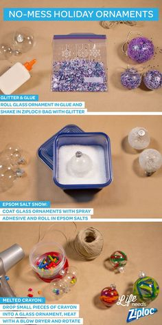 These no-mess, holiday ornaments are great to make with the kids! Shake up a festive, glittery version inside of a Ziploc® Freezer bag, melt crayons on the inside of a plain glass ornament, and create realistic snow with spray adhesive and Epsom salt. The mess stays off your countertops and inside the Ziploc® bags and containers.