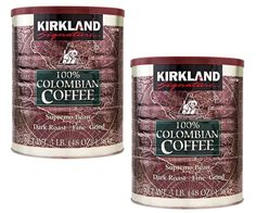 Kirkland Signature 100% Colombian Coffee Supremo Dark Roast Fine TWO 3LB CANS! #KirklandSignature