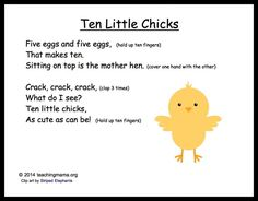 Ten Little Chicks:  I love this cute rhyme!