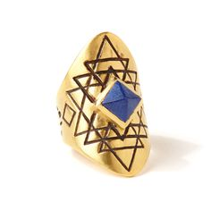 Yantra Ring | Lapis | A faceted Lapis Lazuli pyramid, set in bronze. Sri Yantra design carved into band. Satin finish. // Shop TRIBE Jewelry!