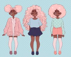 Cute pastel girls (*^▽^)/ I love drawing cute clothes and cuter girls lord help meeee Black Girl Cartoon, Black Girl Art, Art Girl, Black Girls, Black Women, Character Art, Character Design, Character Ideas, Black Anime Characters